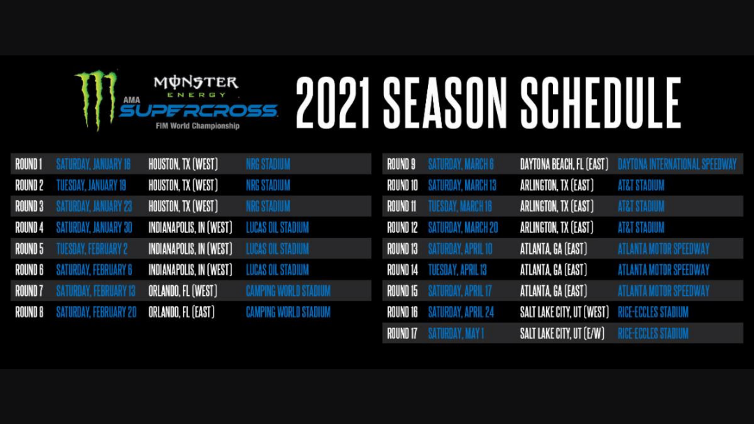 Monster Energy Supercross 2021 Complete Schedule Revealed