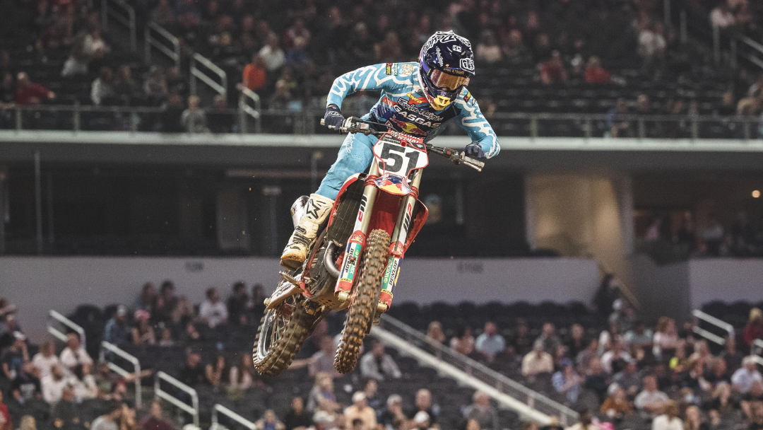 ALL SMILES FOR TROY LEE DESIGNS/RED BULL/GASGAS FACTORY RACING'S JUSTIN BARCIA WITH A RUNNER-UP FINISH AT ARLINGTON SX